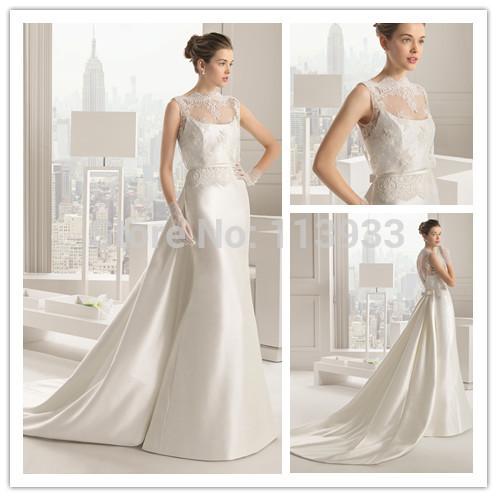 2015 della sirena del merletto backless sheer cristalli bordare staccabile cappella arco elegante elie saab abito da sposa abiti da sposa custom made  (China (Mainland))