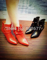 Sexy Lady Spikes Rivets Buckle Strap Winter Martin Ankle Boots Black Red Pointed Toe Women High Heels Boots Shoes