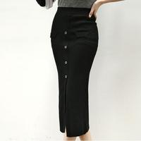 2014 new winter sexy split button modal cotton knitting skirt fashion Korean women's long skirts (black red blue grey green)