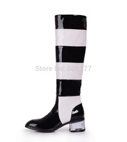 Newest Arrival 2014 Fashion Black With White Patchwork Sneakers Flats Motorcycle Boots Thick Heels Knee High Boots