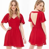 Women New Fashion Red Chiffon Short Style Dress Backless V-Neck Short Sleeve Butterfly Sleeve Slim Waist Mini Evening Dress D588