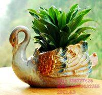 creative flower vase,decorated large aquatic flower pots ceramic pots upscale Swan,free shipping
