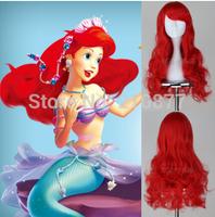 New  mermaid wig adult Princess Ariel Red Cosplay Wig Big Wavy