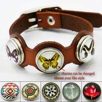 1X2014 New Fashion Punk Leather Charm Bracelets  for Women Men,23.5cm long