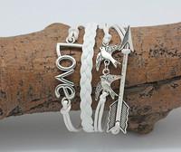 2014 handmake Antique Bronze Hunger Games big Hungry Birds Charms Bracelet Wax Cords DIY Woven men Leather Bracelet