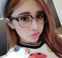 half-frame metal Glasses Man Resistance Eyeglasses Glasses Women Fashion 2014 Eye Glasses Flat glasses round  1114