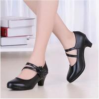 genuine leather women pumps female rhinestone OL COMFORTABLE black work shoes sy-780
