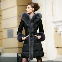 2014 Hot Thicken Warm Women Down Winter Hooded Coats Parka Outerwear Fox Fur collar Mid Long Plus Size 5XXXXXL Luxury Slim