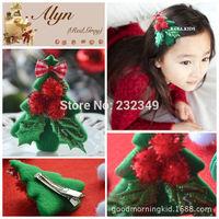 Children Christmas shipping Christmas ornaments hairpin bow hair accessories Nizi material Christmas Santa Claus 2pcs / lot