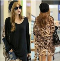 Exclusive!! Drop shipping 2014 new fashion women star print leopard print tshirt women top cropped woman winter clothes