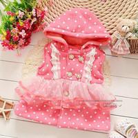 Fashion autumn baby girl vest red purple cotton hooded lace dot vest kids girls vest children vests 4pcs/lot