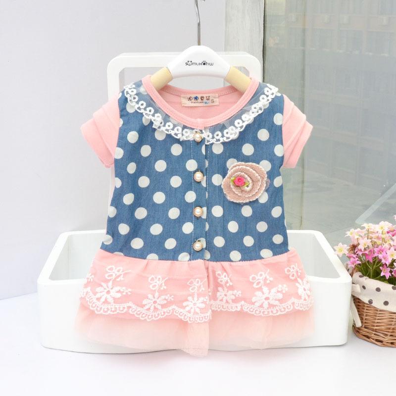 2014 novo roupas moda infantil menina primavera vestido outono manga longa renda denim casaco cardigan costura dot(China (Mainland))