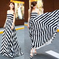 2014 New Maxi Dress minimalist black and white twill Bra Slim bohemian beach dress Sleeveless Long Dresses For Women