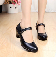 genuine leather women pumps female strap mother shoes OL COMFORTABLE black work shoes sy-781