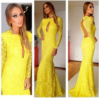 Fashion Sexy  Autumn Lady Prom Vestidos Full Sleeve Floor Length Yellow Lace Backless Hight Street Exquisite Evening Party Dress