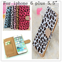 Rhinestone Flip Case For iphone 6 Plus Leopard Phone Cases For iphone 6 Plus 5.5 Inch