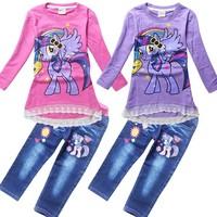 wholesale 2014 autumn new My little pony clothing set girls long sleeve cotton Sweatshirt Jeans suit free shipping 3028