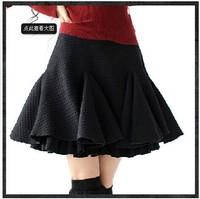 2014 Autumn Vintage A-line woolen black skirt,women's short skirts A09703