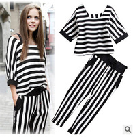 Free-shipping 2014 Leisure suit fashion summer chiffon sleeve big yards ladies blouses harem pants