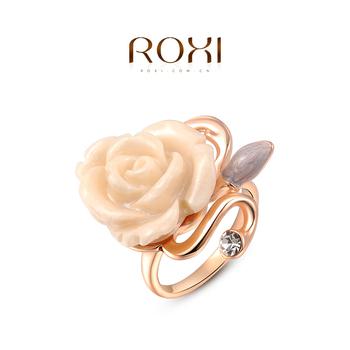 Roxi стильное дизайнерское женское кольцо ручной работы, выполнено из розового золота с трех разовым золотым напылением, украшенное белой розой, размеры 6-8