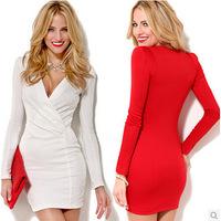 2014 Fall Silm Mid- Calf Long Red White Women deep v neck dress