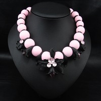 Wholesale Brand European Style Fashion  African Jewelry Lovely Beads Flower Collar Luxury Statement Choker Necklace