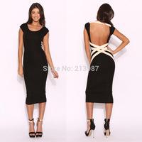 2014 New design women sexy bandage dress black O-neck sleeveless women mid-calf sexy backless women clubwear dress dropshipping