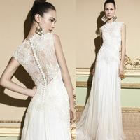 2015 Tony Ivory High Neck Cap Sleeve Lace Wedding Dresses Long Bridal Gowns Sweep Train Chiffon Sheer W3434
