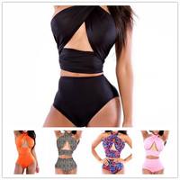 2014New Women Sexy High Waist Bikini Brand Girl Swimsuit swimwear Black Bandage Push Up Beachwear Monokini Swimsuit bikinis Set