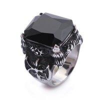 Black Onyx Stainless Steel Mens Ring Size 8 9 10 11 JR265