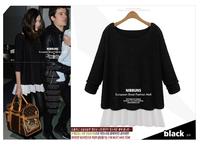 L~6XL Women Plus Size Long Sleeve Patchwork Chiffon Spring Autumn Blouses Discounted European Large Color Block Loose Long Shirt