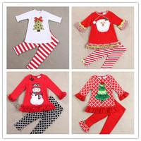 wholesale 5set/lot gril's clothes long sleeve t-shirt pants 2pcs set baby clothes christmas kids clothes