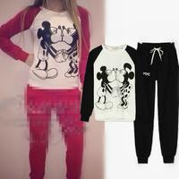 Hot Sale Cartoon Women's Sport Suit Sweatshirt Pants Cotton Tracksuits Black/Red/White Colors Casual Hoodies 30080