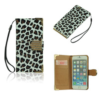 Wallet Style Stand PU Leather Case for iPhone 6 Leopard White