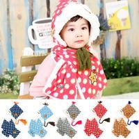 New Winter Dot Baby Winter Warm Hat+Scarf Set Children Warm Ear Protect Baby Kids Plush+Wool Hats 1pcs Free Shipping MZD-1417