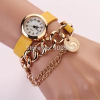 2014 7 Colors Leather Retro Vintage Punk Chain Bracelet Watch Quartz Wrist Watch for women Wholesale Watches