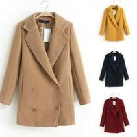 Women Coat 2014 Winter Woolen Overcoat Womens Fashion Trench Solid Long Woolen Coat Hot Free Shipping 3074