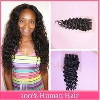 Brazilian Virgin Hair Deep Curly Closure 4x4 Human Hair Lace Closure Bleached Knots Virgin Brazilian Hair 3 Way Middle Part