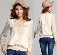 2014 new design V neck chiffon cotton long sleeves big size t shirt spring autumn knitted all match XXXL LOOSE elegant AYA14C825