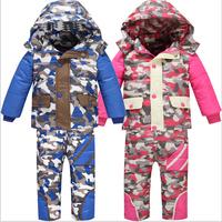 2014 New Children's Winter Clothing Set kids Ski Suit Windproof Camouflage printing Zipper warm Jackets+Bib Pants Kids Ski Suit