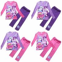 wholesale 2014 autumn new cartoon clothing set my little pony girls long sleeve cotton t shirt + Leggings suit 9108
