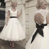 2014 Summer Wedding Dress Vintage Detachable Jacket Tea Length Short Backless Lace Bridal Gown Women Free Shipping HS261