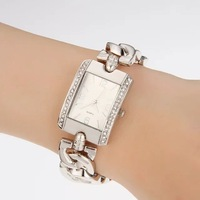 Exquisite Fashion Chain Belt Luxury Retro Rhinestone Gold Silver Lady's Woman's Party Dress Gift Bracelet Bangle Wrist Watches