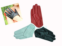 New Sexy and the City 5 Fingers Half Palm Genuine Lambskin Leather Women Gloves Black White Red S M L