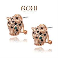 2014 ROXI fashion models selling genuine Austrian crystal jewelry rose gold leopard head women's earrings freeshipping