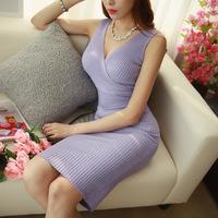 Crossover Deep V neck package hip Mid-calf Slim Sexy Knit Long women Dress