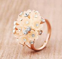 Brand New Rose gold Plated women zircon daisy flower jewelry rings fashion women jewelery gift