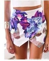 Hot Sale Flower Print Skirts Women 2014 Summer Fashion High Waist Mini Skirt New Sweet Short Skirts Free Shipping