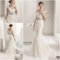 JM.Bridals CY3627 Elegant Off the Shoulder Rhinestone Mermaid Lace Wedding Dress for Bride 2015