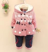 2014 new children winter coat set lovely girls thicking coat children winter set suit coat pants